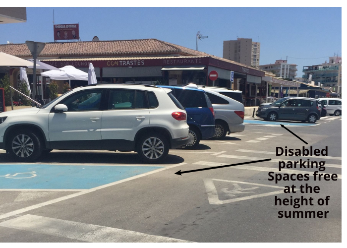 Javea Av Del Med disabled parking space free in height of summer